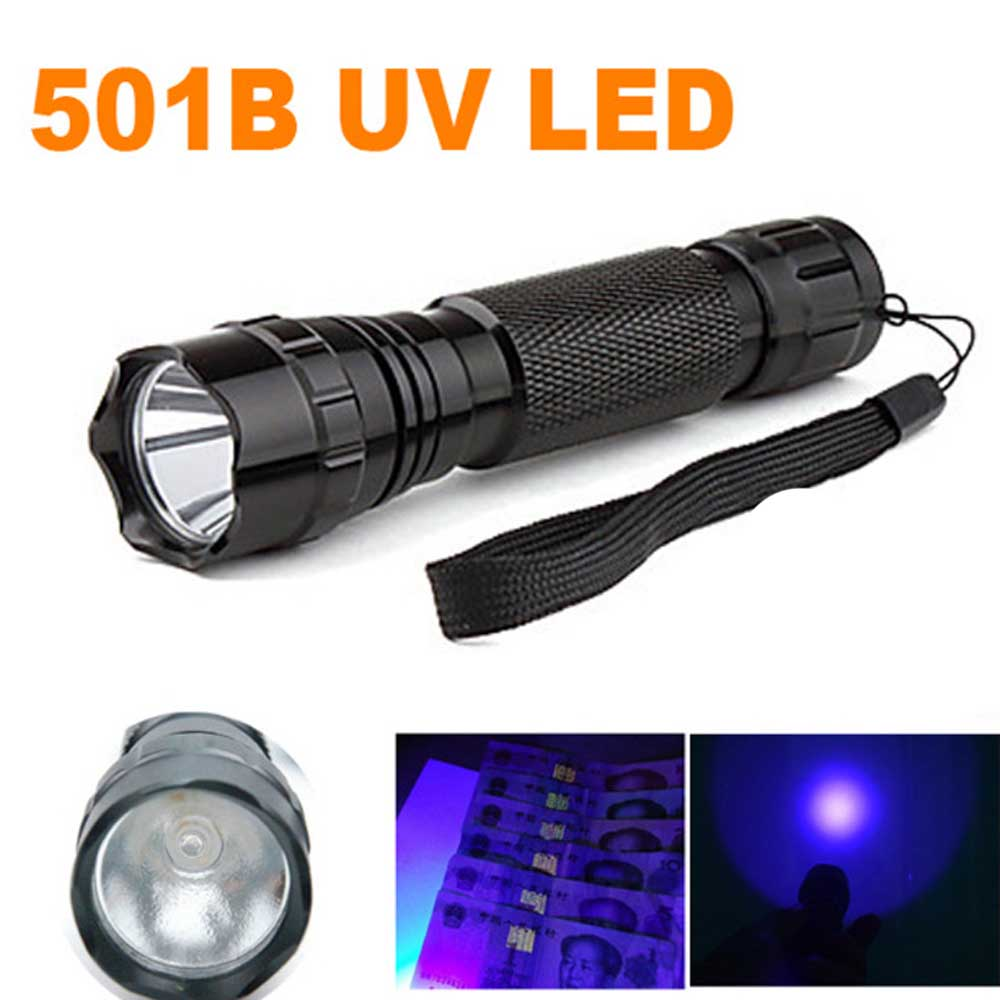 Ultrafire 501B LED UV Flashlight LED Violet 395nm UV Fluorescent Lamp Aluminum Flashlight LED Linterna Luz Auxiliary Digital Fla