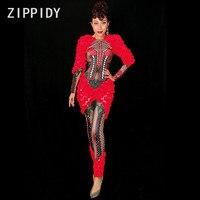 Новые Красные Цветы Стразы спандекс комбинезон Sexy Аппликации Для женщин День Рождения Праздновать Одна деталь костюм ночной клуб танца нар