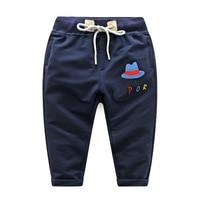 Children's Sports Suits European Cute Children's Boy Pure Cotton Embroidery Cartoon Motion Trousers Spring Pants Leggings 2 5 Y