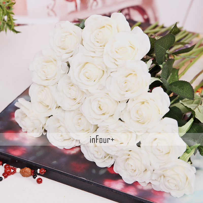 New real touch flowers white rose silk flowers latex artificial new real touch flowers white rose silk flowers latex artificial flowers for wedding decoration fake flowers valentines day gifts in artificial dried mightylinksfo