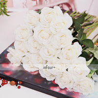 New Real Touch Flowers White Rose Silk Flowers Latex Artificial Flowers For Wedding Decoration Fake Flowers Valentines Day Gifts