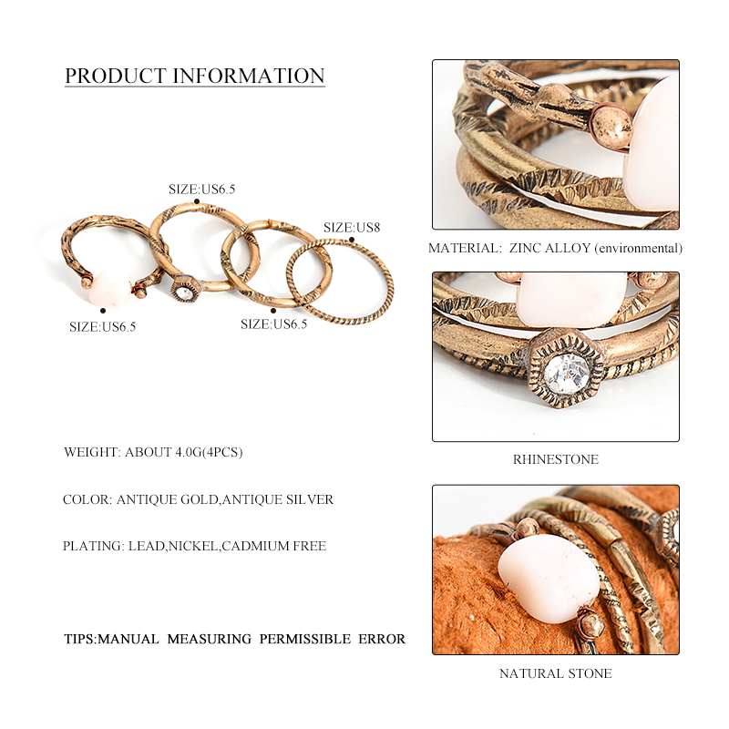 Boho Beach Vintage Ring Set 1