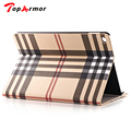TopArmor Luxury Plaid Grid pattern Stand Flip Leather with card holder slot Case for Apple iPad Air2 iPad 6