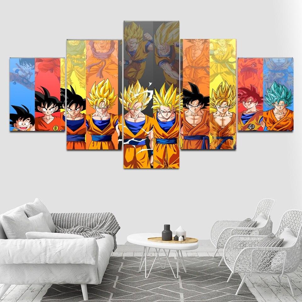 5 pièces toile art dragon ball Z affiche Goku modélisation toile peinture mur photos pour salon modulaire Art