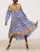 Vintage Navy Blue Boho Dress Summer Long Sleeve O neck Bohemian Long Dess Gypsy Chic Floral Maxi Dress Women Dresses Robe Longue