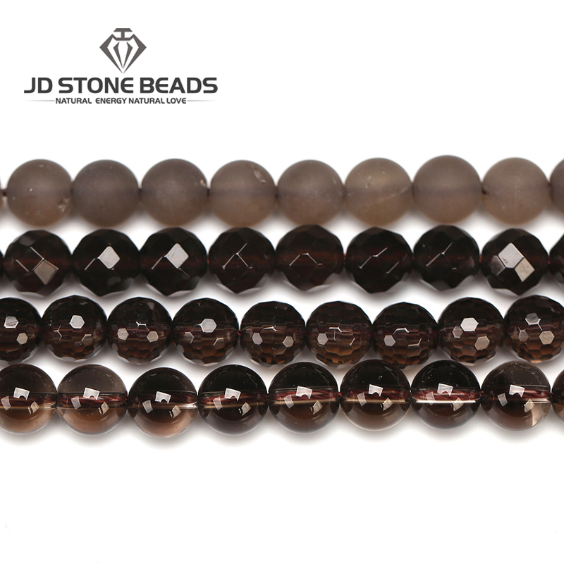Natural Smoky Quartz 4 6 8 10 12mm Faceted Amber Stone Matte Round Beads High Quality Beads Unique Design Jewelry Accessories