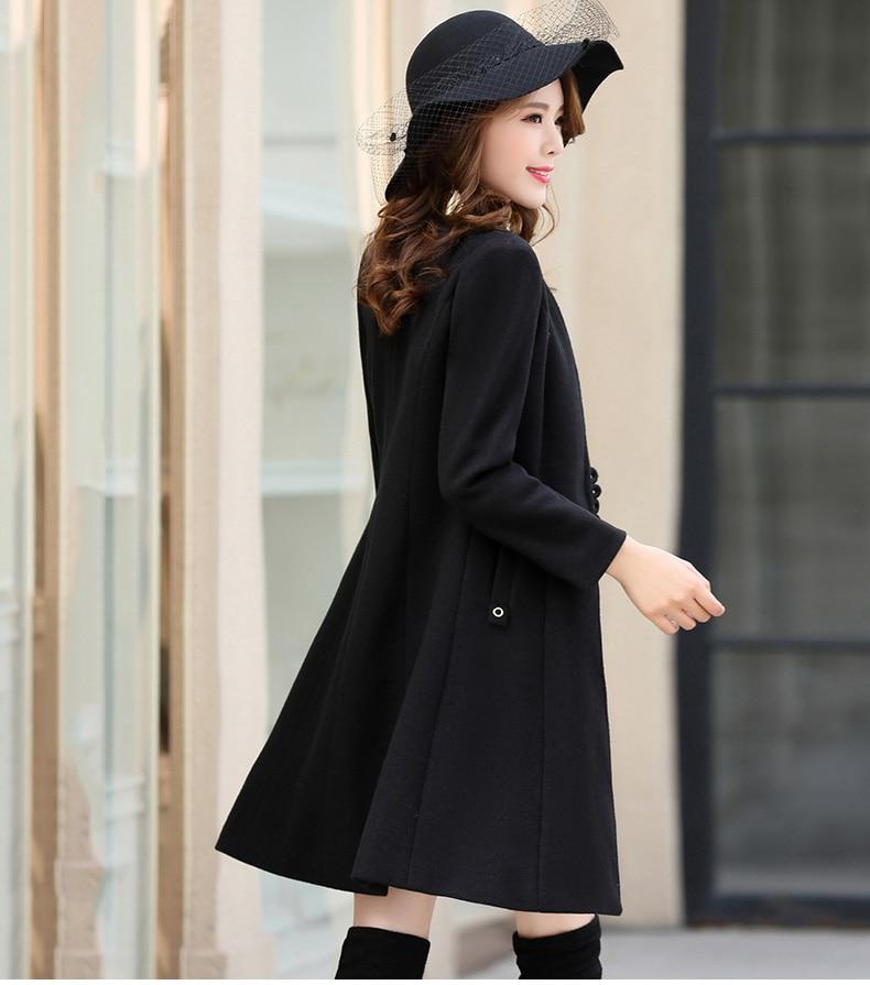 Outerwear Overcoat Autumn Jacket Casual Women New Fashion Long Woolen Coat Single Breasted Slim Type Female Winter Wool Coats 24
