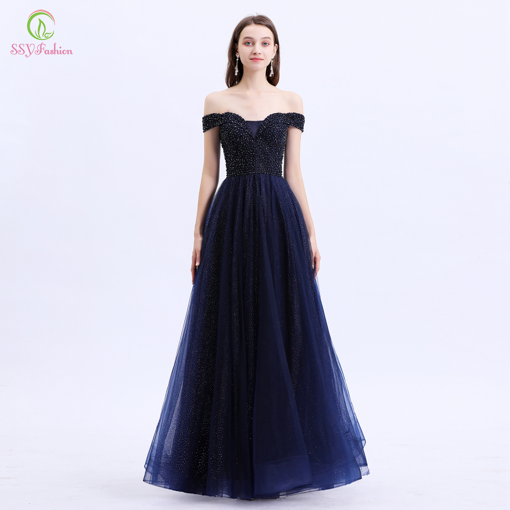 SSYFashion New Special Occasion Dresses Women Elegant Navy Blue Boat Neck Sequins Beading Party Formal Gowns Vestido De Noche