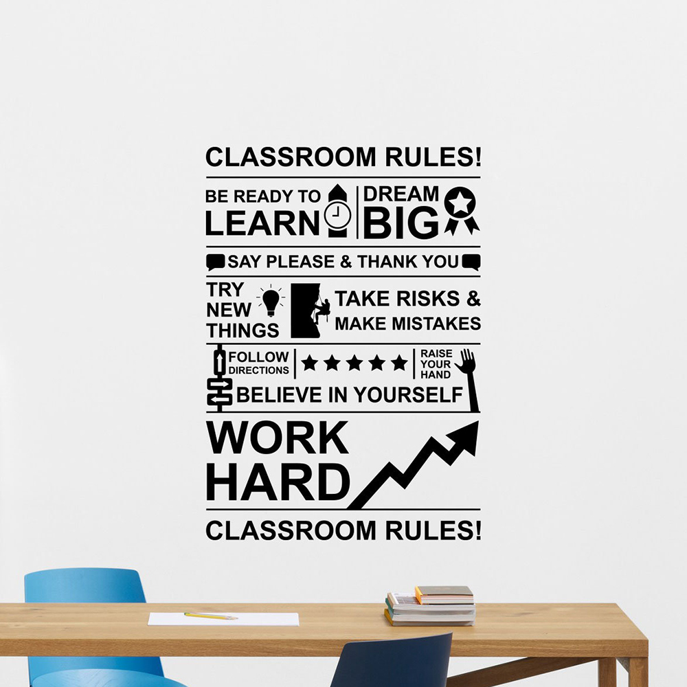 Work Hard Dream Big Poster Stickers Classroom Rules Wall Decal