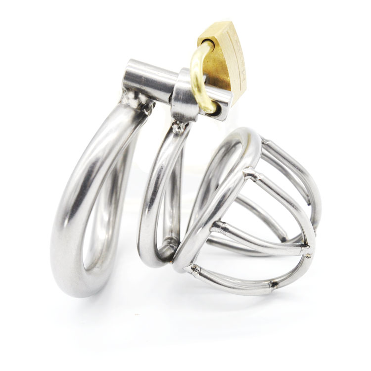 Stainless Steel Male Chastity Belt With Arc Shaped Penis Ring Cock Cage Small Cage -5783