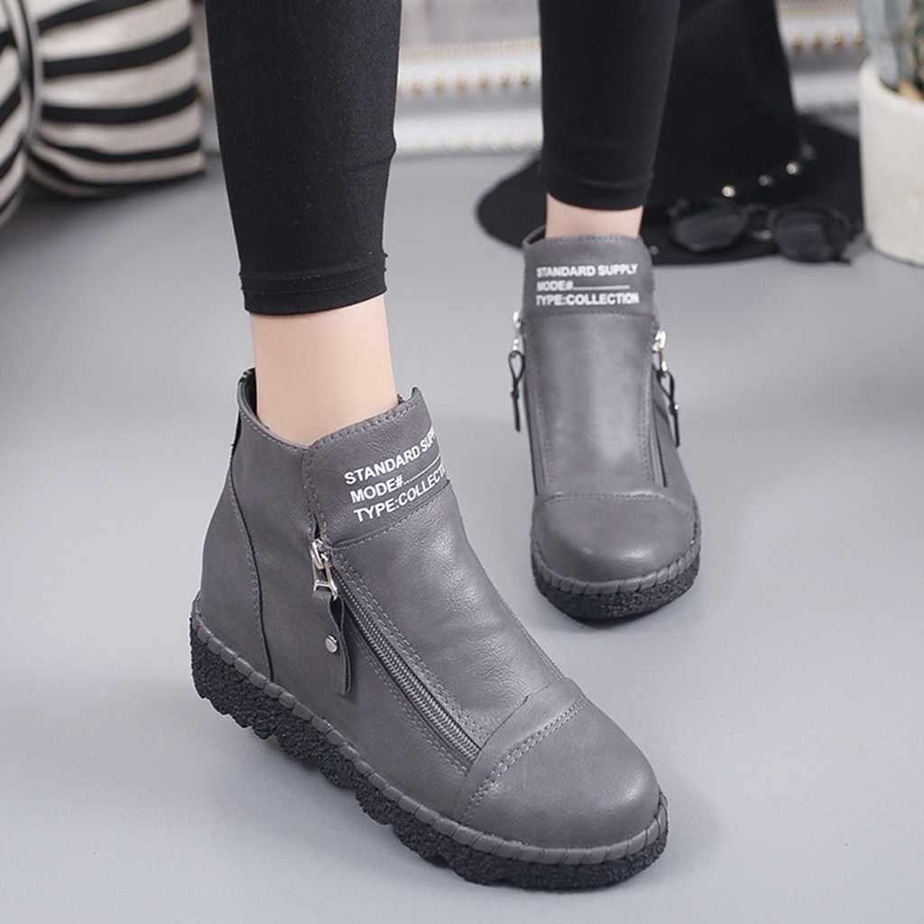 Donne Retro Stivali Invernali di Avvio a Breve di Cuoio 2019 Moda Vintage Tacco Basso Zeppe Piattaforme Caviglia Scarpe Partito Retro Botas Casual