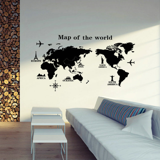 Removable Pvc Vinyl Art Room World Map Decal Mural Home Decor Diy