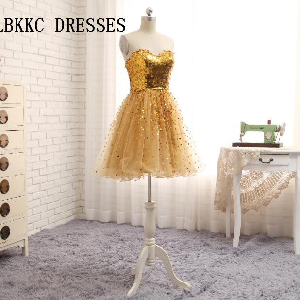 Gold   Cocktail     Dresses   Knee Length Tull With Sequin Elegant Short Party Prom Gown Short   Cocktail     Dresses