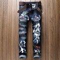 Miedo Robin Biker Balmai Verdadero Yeezy Impulso de Dios Religiosa pantalones vaqueros rasgados para los hombres apenada moto marca denim pantalones hombre MB16314