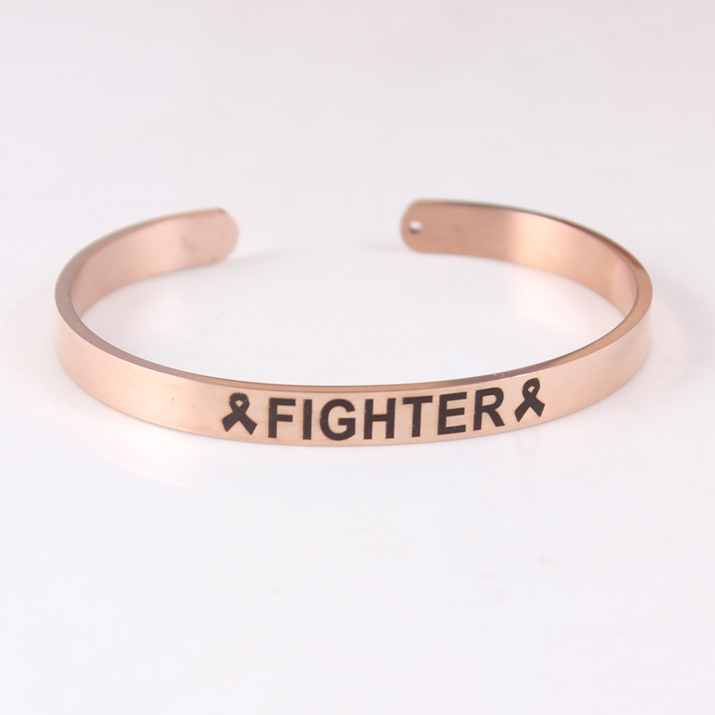 3pcs 316L Stainless Steel Bangle Positive Inspirational Quote Cuff Bracelets Survivor Fighter Ribbon Mantra Bracelets For Cancer in Bangles from Jewelry Accessories