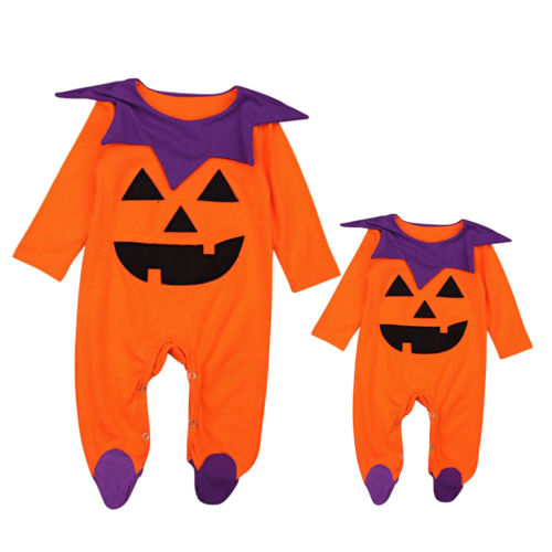 Toddler Baby Boy Girl Halloween Costume Kid Top Long Sleeve Cute Romper Pumpkin Outfit Clothes