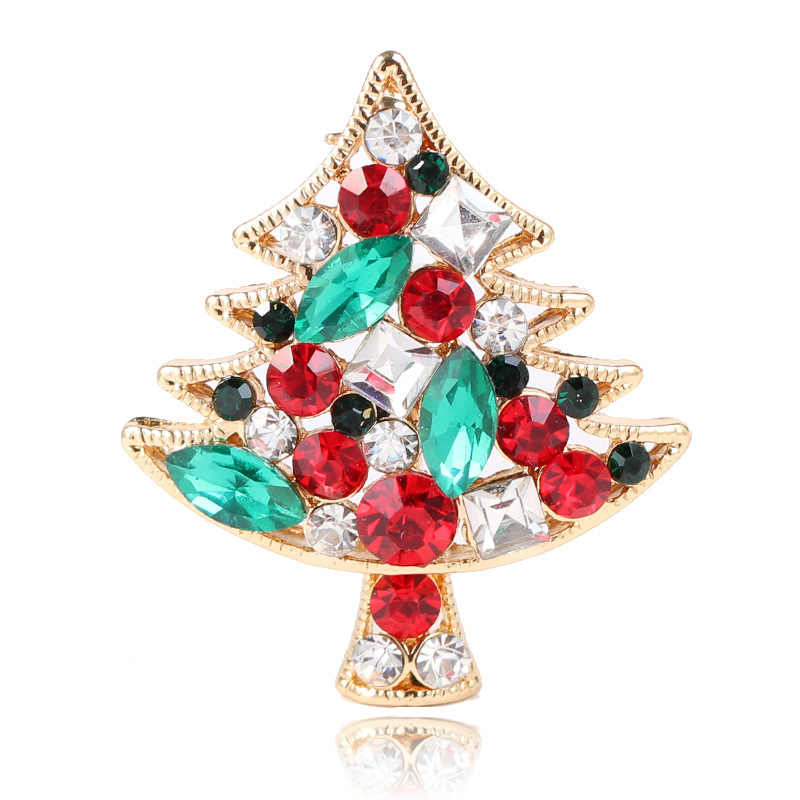 CINDY XIANG Shiny Crystal Christmas tree Brooches For Women Rhinestone  Fashion Pins Sweater Dress Accessories Party 8729933418d3