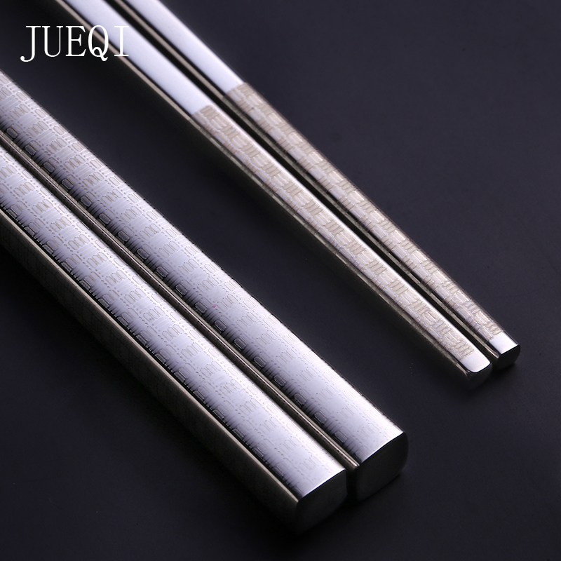 JueQi 304 Stainless Steel Chinese Chopsticks Wheat Straw Portable Travel Chopsticks Kids Reusable Food Sticks For Sushi 1 Pair image