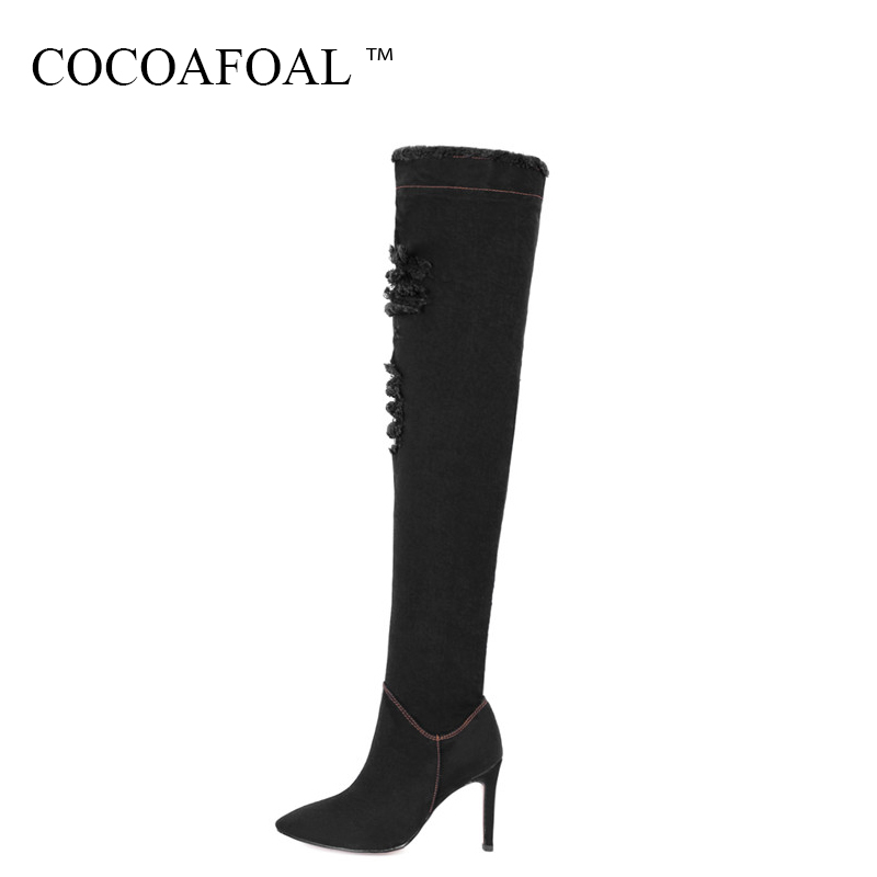 COCOAFOAL Winter Woman Blue High Heel Shoes Women's Black Denim Thigh High Boots Sexy Plus Size 33 40 Denim Over The Knee Boots все цены