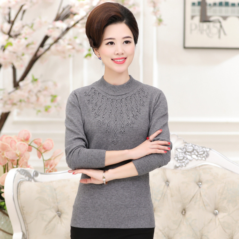 Autumn and winter font b women b font retro high necked sleeves knitted thickening warm sweater