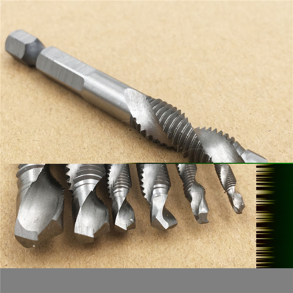 6 pcs Composite Tap Drill Bit Thread Spiral Screw Tap Center Drill - Foret - Photo 4