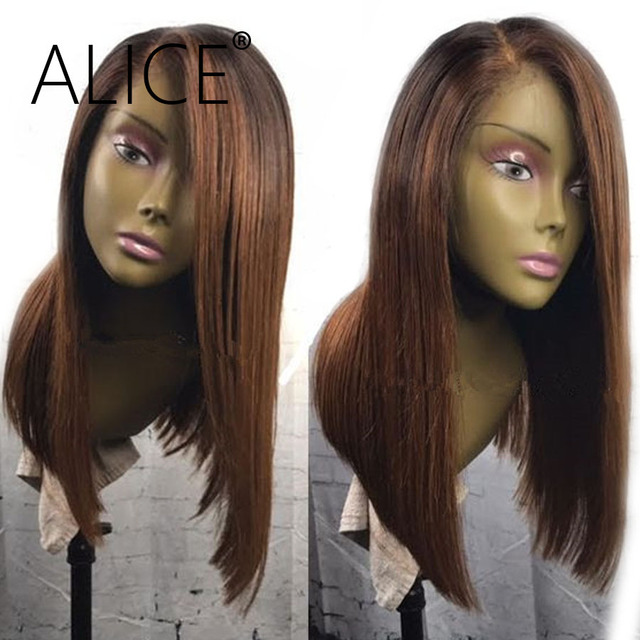 Alice Straight Bob Lace Front Wigs 130 Percents Ombre Wigs For Women Side Part Brazilian Remy Hair Lace Front Human Hair Wigs Glueless by Alice