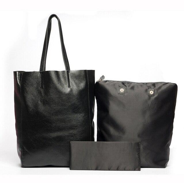 ANAWISHARE Women Genuine Leather Handbags Large Shoulder Bag Cowhide Ladies Tote Bags Black Handbags Casual Shopping Bag Bolsos