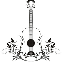 Floral Guitar Acoustic Musical Notes Instruments Wall Stickers Music Art Decal