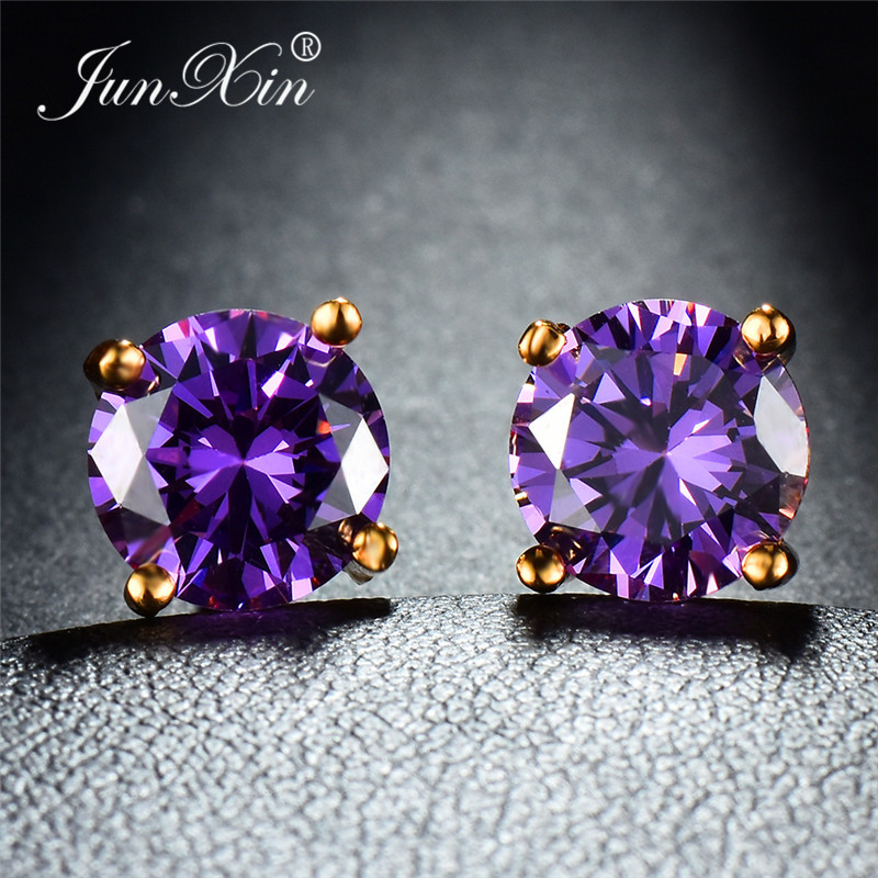 JUNXIN Mystic Multicolor Zircon Round Stud Earrings For Women Yellow Gold Filled Purple Green Blue Stone Wedding Earrings Female