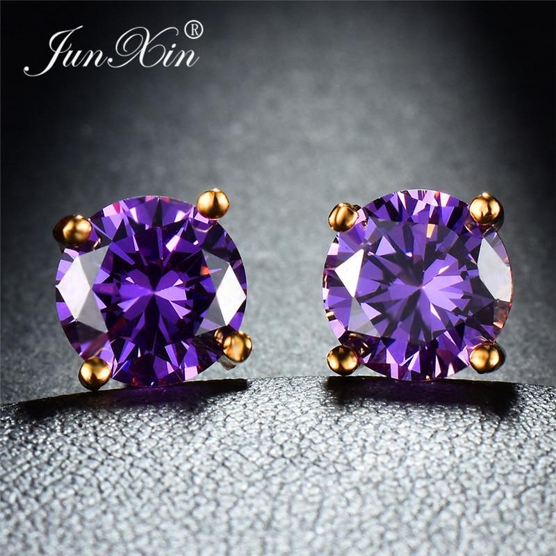 JUNXIN Mystic Multicolor Zircon Round Stud Earrings For Women Yellow Gold Filled Purple Green Blue Stone Wedding Earrings Female