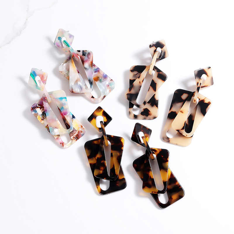 2019 New Geometric Design Leopard Earrings for Women Tortoiseshell Brinco Double Acrylic Earrings Fashion Jewelry Wholesale Gift