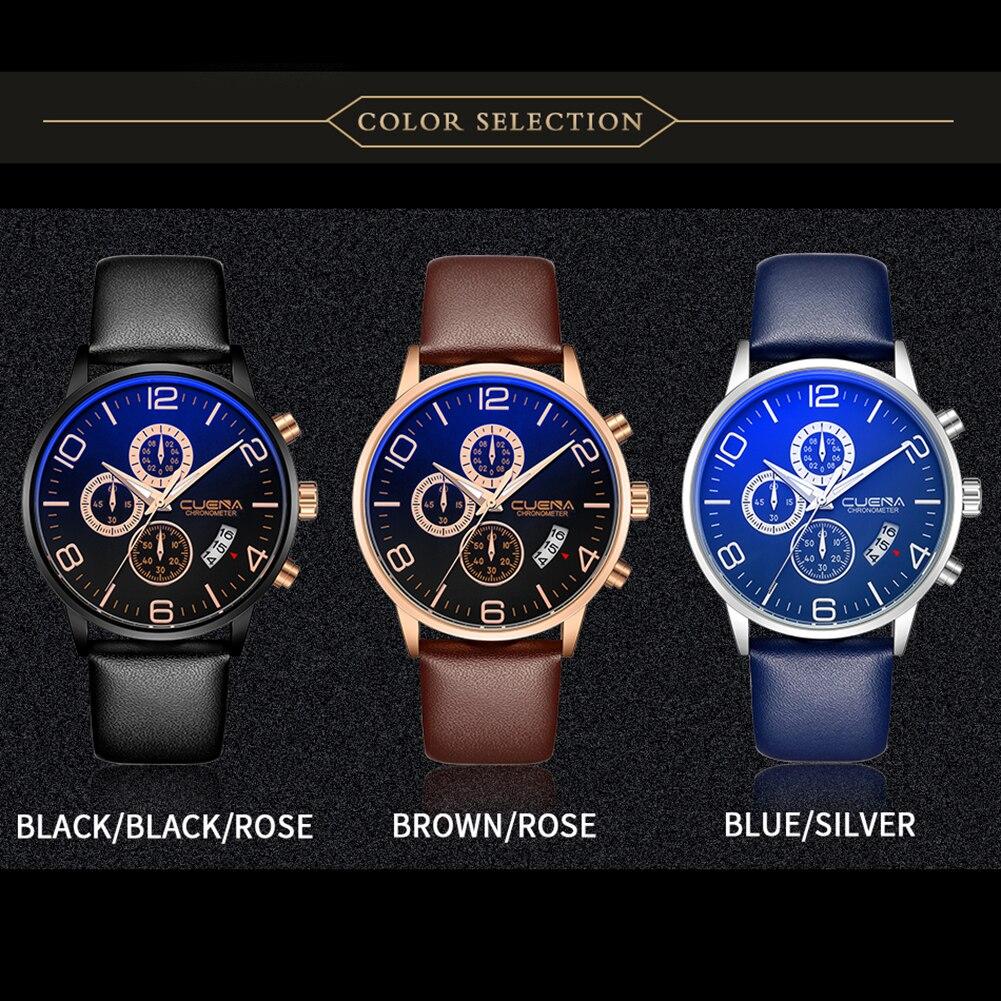 Men Business Genuine Leather Sub Dials Glow in Dark Analog Quartz Wrist Watch