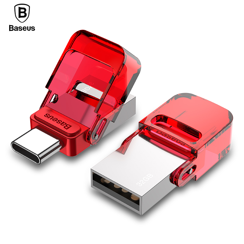 Baseus USB Type C USB Flash Drive 32GB OTG Mini Pendrive High Speed Flash Memory Stick For Phone/ PC Pen Drive USB 2.0 U Disk banq c61 usb flash drive 32gb otg metal usb 3 0 pen drive key 64gb type c high speed pendrive mini flash drive memory stick 16gb