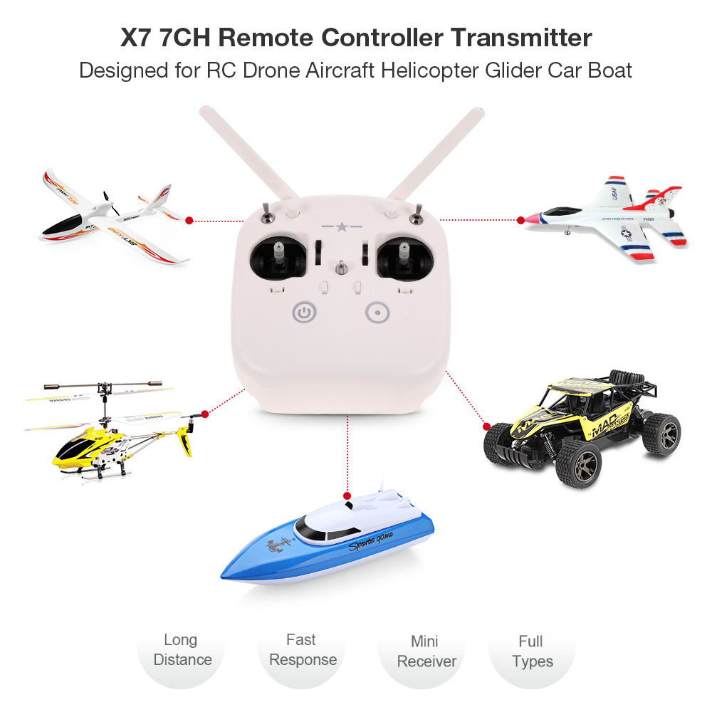 X7 7CH Drone Remote Controller Transmitter with SZ007 Receiver for DIY RC Drone Quadrocopter Multirotor Aircraft RC Helicopter microzone mc8b 2 4g 8ch rc transmitter mc8re 9ch receiver for rc car boat drone aircraft helicopter multicopter universal
