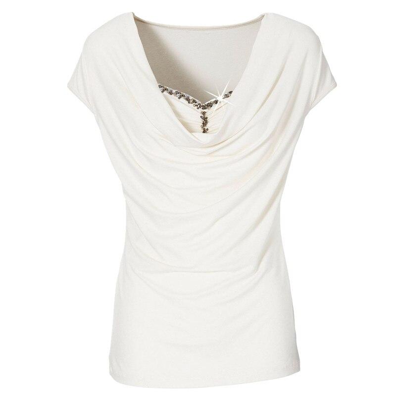 2017 New Diamond Sexy Tops Leisure Stitching Short Sleeve T-shirt for Women