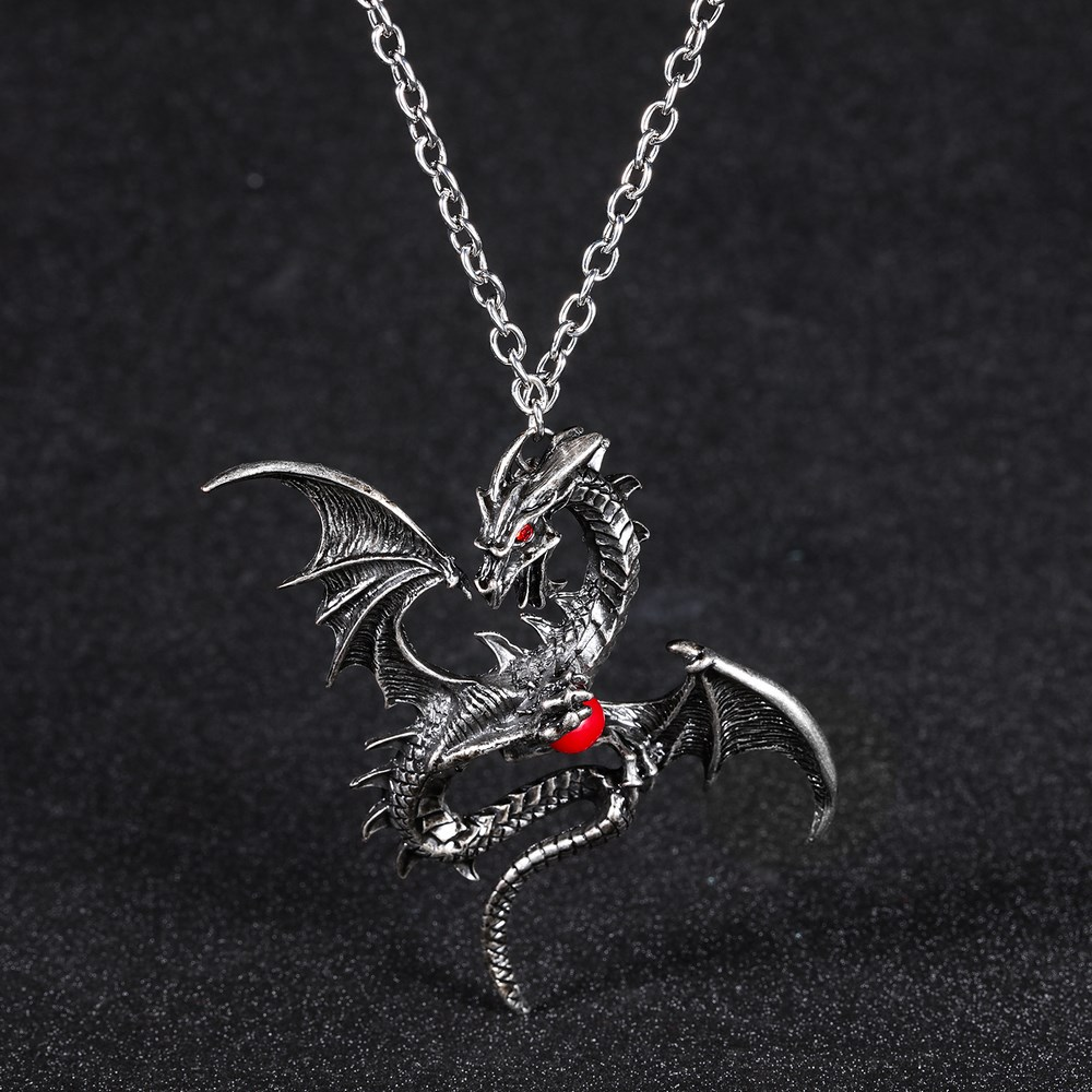 2018 New Necklace For Men Women Choker Crystal Charms Dragon Vintage Gothic Accessories Jewelry unique gothic punk sexy black lace pendant necklace fashion trend women choker graceful joker halloween jewelry accessories 2018