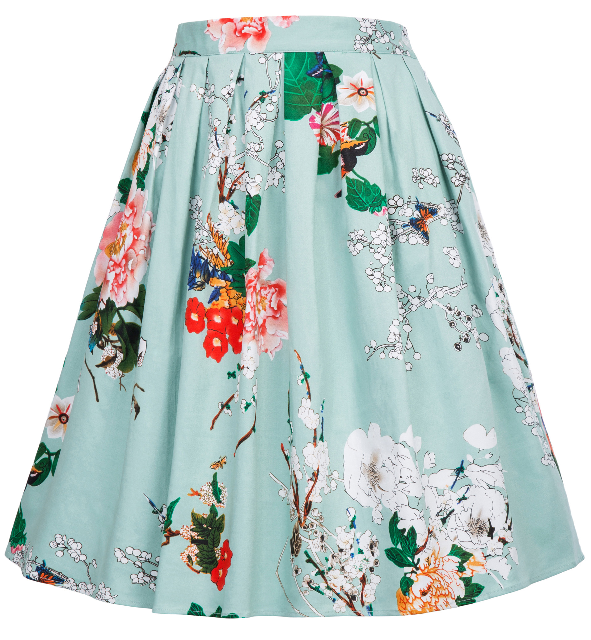 Women's Clothing Skirts S~2xl Faldas Mujer Womens Retro Vintage Skirt Belt Decorated Knee Length Skirts Cotton Flared A-line Swing Print Floral Skirt