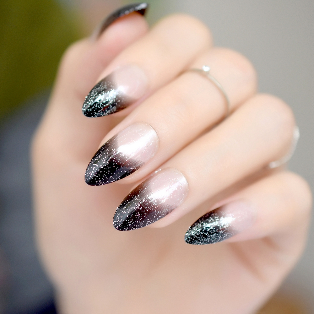 2019 year for lady- French Black nails with glitter