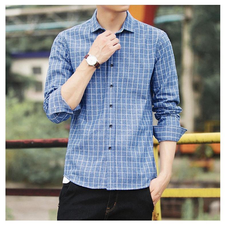 2018 Men Fashion Casual Long Sleeved Printed shirt Slim Fit Dress Shirt Brand Men Clothing Soft