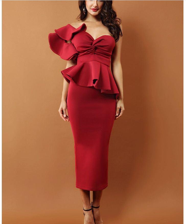 2018 Summer New Red High End 3D One Shoulder Sleeveless Ruffles Bodycon Backless Prom Evening Dinner Ball Dress