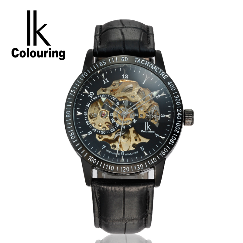 Casual IK Colouring Fashion Mechanical Skeleton Watch Auto Stainless Steel Men's Watches Wristwatch Free Ship ik luxury fashion casual stainless steel men automatic mechanical watch skeleton watch for men s dress wristwatch free ship