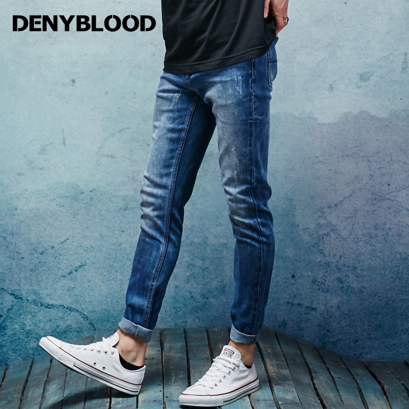 Denyblood Jeans Mens Stretch Denim Slim Straight Distressed Jeans Ripped Darked Wash Casual Pants High Quality Trousers 151097 1pcs 12cm 14g big wobbler fishing lures sea trolling minnow artificial bait carp peche crankbait pesca jerkbait ye 37