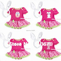 Hot Pink Bodysuit Pink White Dot Pettiskirt Girl Baby Dress NB-12M Headband MAJS0007