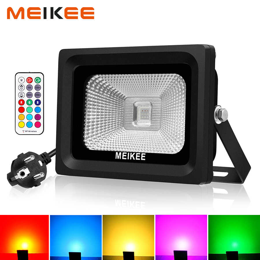 10W RGB LED Flood Light AC100-240V Waterproof LED Floodlights Outdoor Spotlights Searchlights With Remote for Garden Street