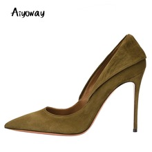 Pointed Toe High Heel Pumps Turn down Collar Aiyoway Elegant Women Ladies Style Wedding Party Work Shoes Heels Big Size