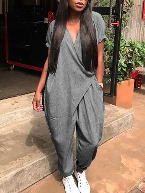 6c07afbd56b 2018 Women Loose Fashion Casual Romper Solid Summer Jumpsuit Stylish Pocket  Wrapped Harem Jumpsuit Female Plus