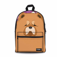 Customized Cute Chow Dog Printing Backpack Women Canvas Shoulder Schoolbag Feminine Large Laptop Bagpack for School Teen Girls