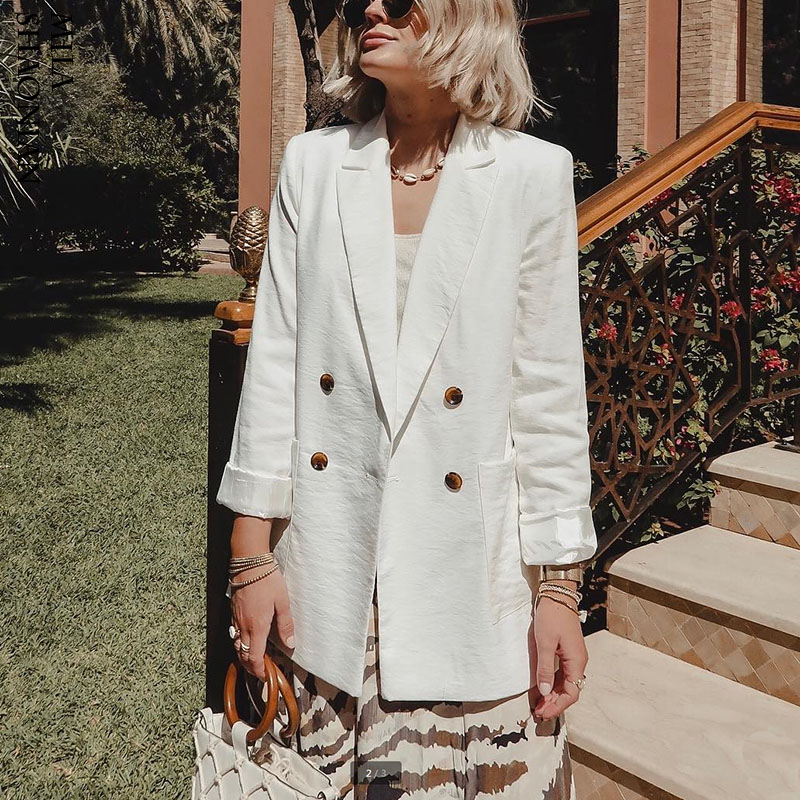 Black Blazer Coats Outerwear Suit Jacket Women Office Long-Sleeve Female White WOTWOY