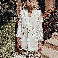 WOTWOY Double Breasted White Black Blazer Female Long Sleeve Office Ladies Blazer 2019 Autumn Jacket Women Outerwear Suit Coats