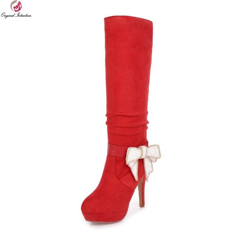 Original Intention Super Elegant Women Knee High Boots Round Toe Thin Heels Boots Beautiful Black Red Shoes Woman US Size 3-8.5 стоимость